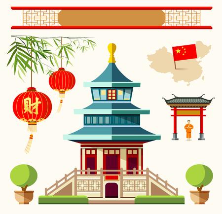 중국 스타일의 컬렉션 디자인 배경 벡터 건물