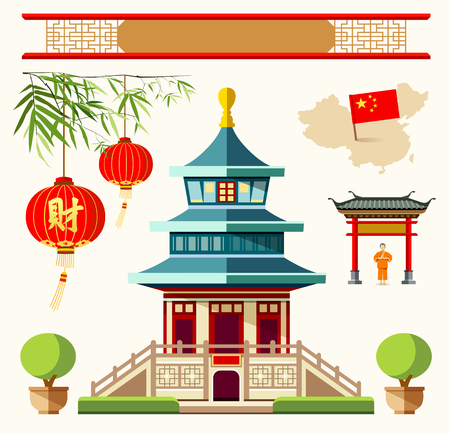 china art: Vector Buildings of China style collections design background
