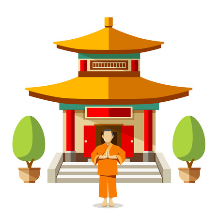 massage symbol: Vector Building of China with china monks background