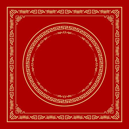 coiffer: Vector chinois style de cadre sur fond rouge