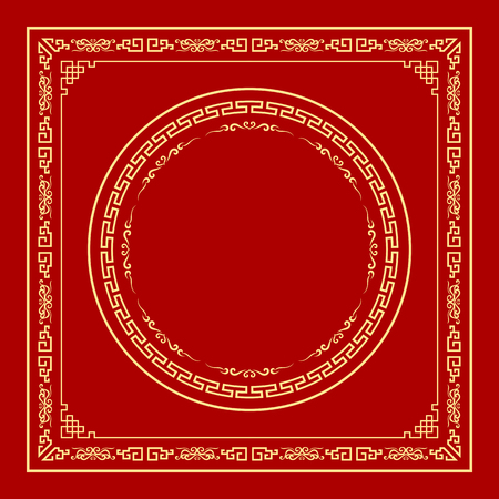 texture: Vector marco estilo chino sobre fondo rojo