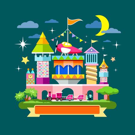amusement: Vector Amusement park concept design on night background