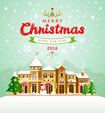 Christmas Greeting Card. Merry Christmas lettering with houses snow
