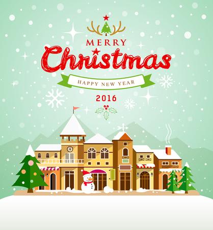estrellas de navidad: Tarjeta de felicitaci�n de Navidad. Feliz Navidad letras con las casas de la nieve Vectores