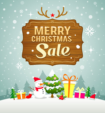 greeting card background: Merry Christmas sale concept with wood board on snow