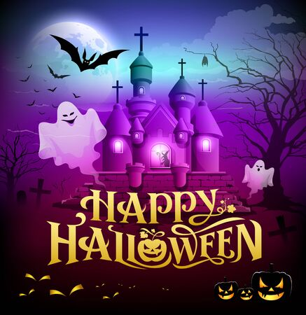 happy halloween: Happy halloween gold lettering castle with ghosts Illustration