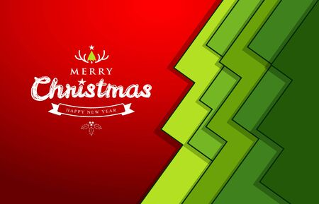 green paper: Merry Christmas paper green overlap tree design greeting card