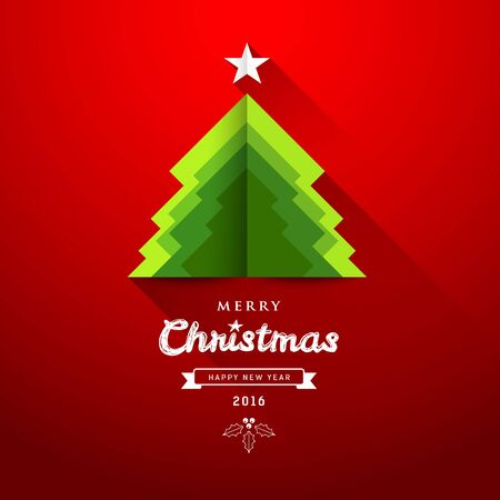 Merry Christmas origami paper green tree overlap concepts
