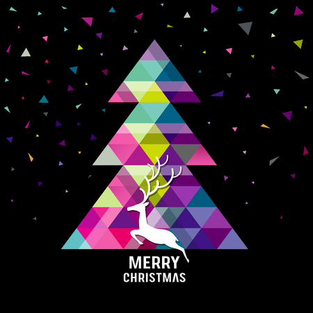artwork: Merry Christmas geometry tree with reindeer concepts design Illustration
