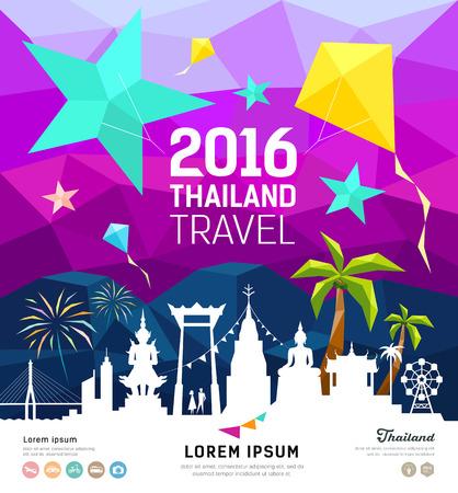arcoiris caricatura: Viajes Tailandia el año nuevo con la silueta hito diseño geométrico