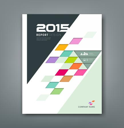 幾何学的な年間のレポートのカラフルな正方形のパターンかさをカバーします。  イラスト・ベクター素材