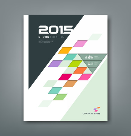 business book: Cover annual report colorful square pattern bevel geometric