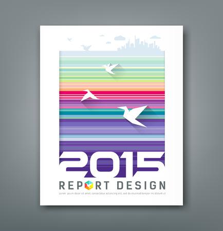 アニュアル レポートの飛ぶ鳥とシルエットの建物をカバーします。