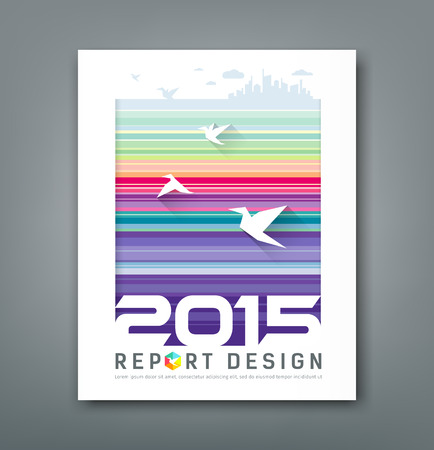 cloud cover: Cover Annual report flying birds and silhouette building