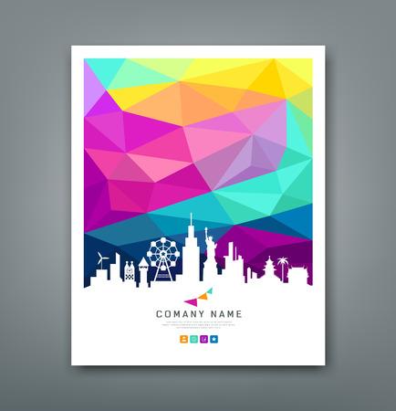 Cubierta informe formas geométricas de colores con la silueta Ilustración de vector