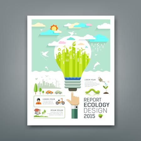 Jaarverslag gloeilamp milieu creatief ontwerp Stock Illustratie