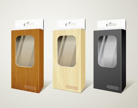 publicidad exterior: Cuadro de los productos paquete de madera y colecciones de caja negra Vectores