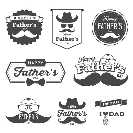 Happy Father\'s day labels black and white Ilustração