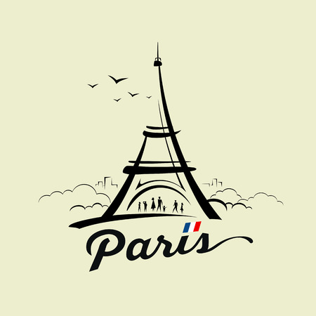 Eiffel tower sketch design on cream recycle paper Stock Illustratie