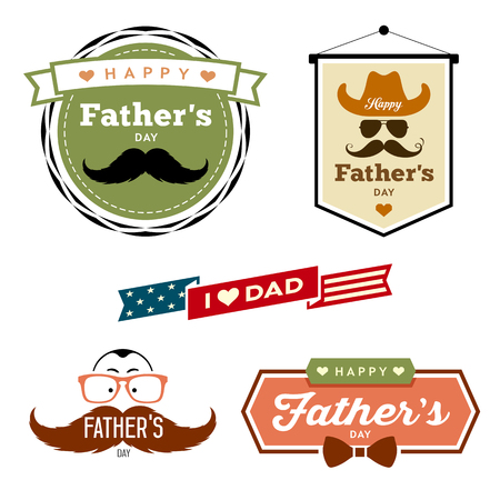 retro cartoon: Vector Happy Fathers day colorful labels collection Illustration