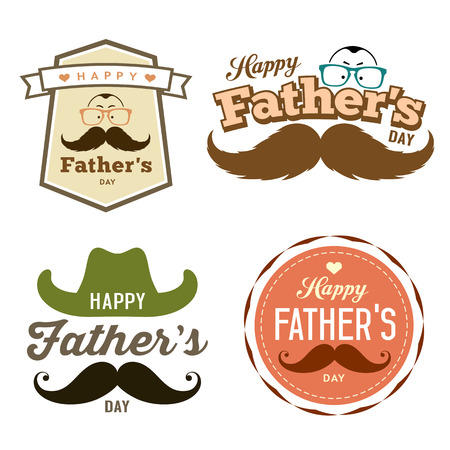 old cowboy: Happy Fathers day colorful labels set concept Illustration