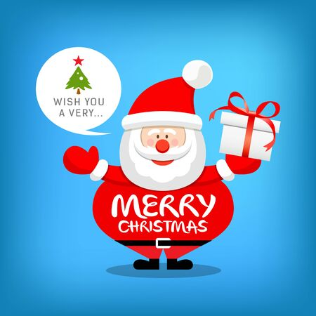 white bacjground: Santa claus, merry christmas message with gift box Vector illustration