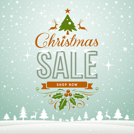 christmas poster: Merry Christmas sale winter greeting card concept Illustration