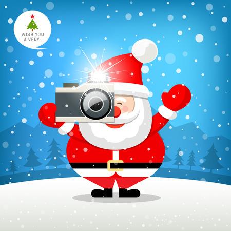 Merry christmas Santa claus hand holding photo camera Illustration