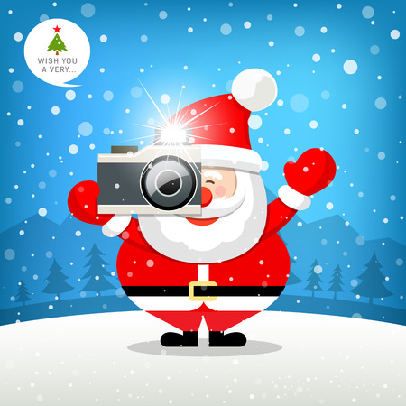 santa claus hats: Merry christmas Santa claus hand holding photo camera Illustration