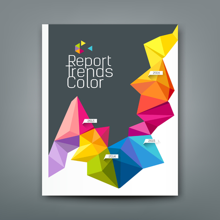 Cover report trends colorful geometric year design  イラスト・ベクター素材