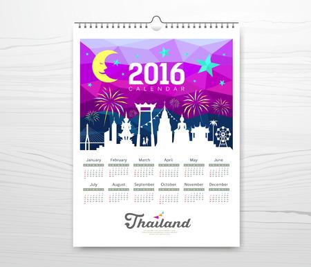 Calendar new year travel thailand with silhouette landmark Vector Illustration