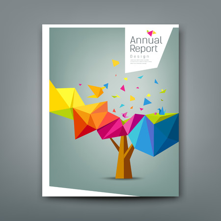 Cover report tree colorful geometric with bird paper concept design