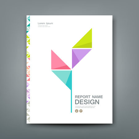 annual report: Cover Annual report colorful tree origami paper concept design