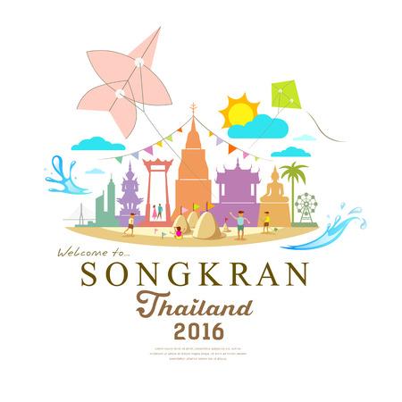 Songkran Festival Ped de abril en el verano de Tailandia con el diseño del agua