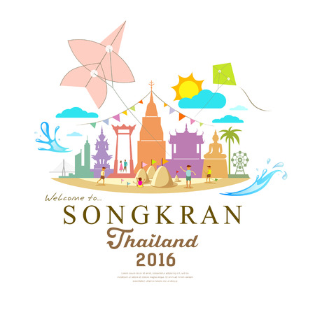 sand asia: Songkran Festival Period of April in the summer of Thailand with water  design Illustration