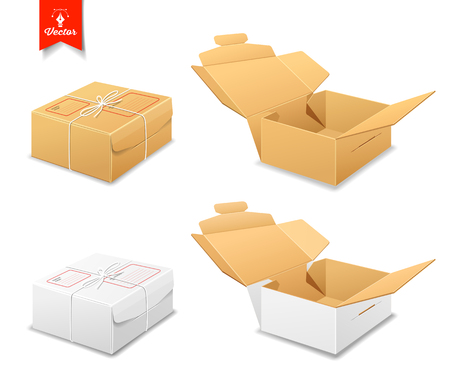 packer: Parcel boxes, brown and white box collections Illustration