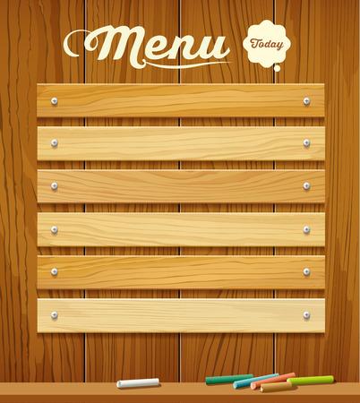 tavola di legno del menu con il disegno di colore pastello