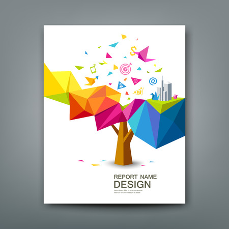 year profile: Cover report tree colorful geometric with bird paper with business icons