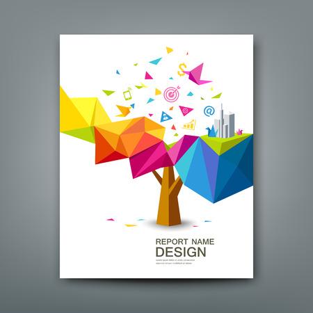 libros volando: Informe abarcan árbol colorido geométrico con papel pájaro con los iconos de negocios Vectores