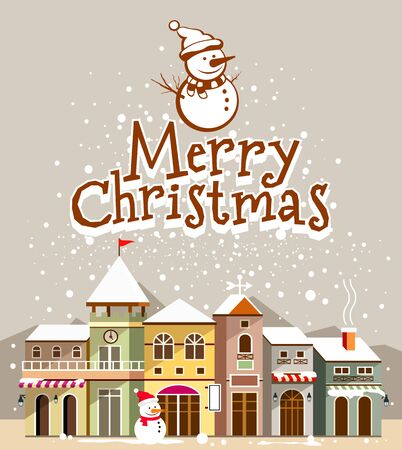 Merry Christmas lettering with houses snow on background