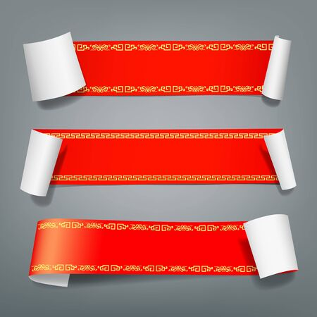 paper sheet: Red paper roll chinese style collections on gray background