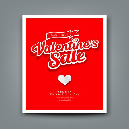 happy valentine: Happy valentine day origami heart paper on red background