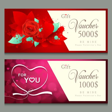 leaf: Vector illustration,Gift voucher Happy Valentines day concept