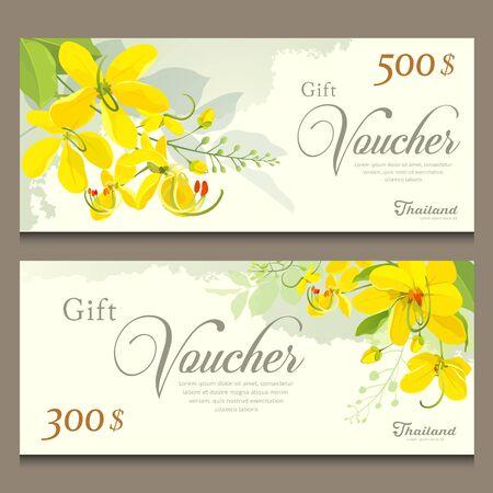 Gift voucher kwiat Tajlandii, Cassia Fistula szablon projektu Ilustracje wektorowe