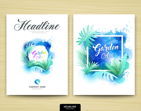 leaf: Cover annual report garden design leaf tree nature water color style