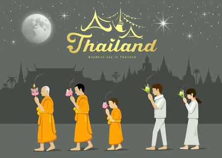 moine: Des moines bouddhistes et des adorateurs de personnes sur une importante Thaïlande bouddhiste