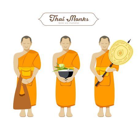 buddhist monk: Thai monks collections vector illustration Illustration