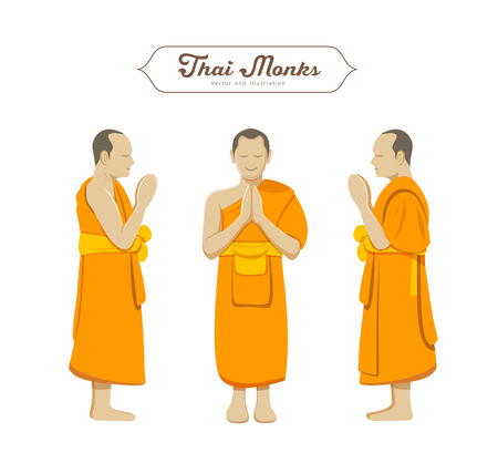 buddhist: Thai monks greetings collections vector illustration