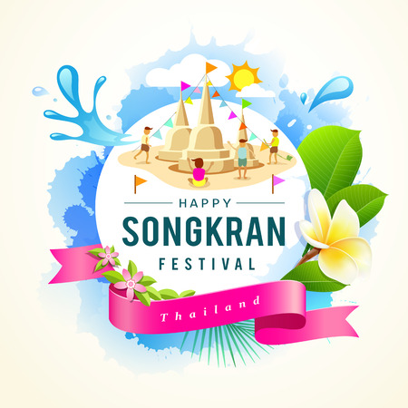 Songkran Festival summer of Thailand design.