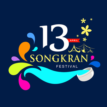 Songkran festival of Thailand vector.
